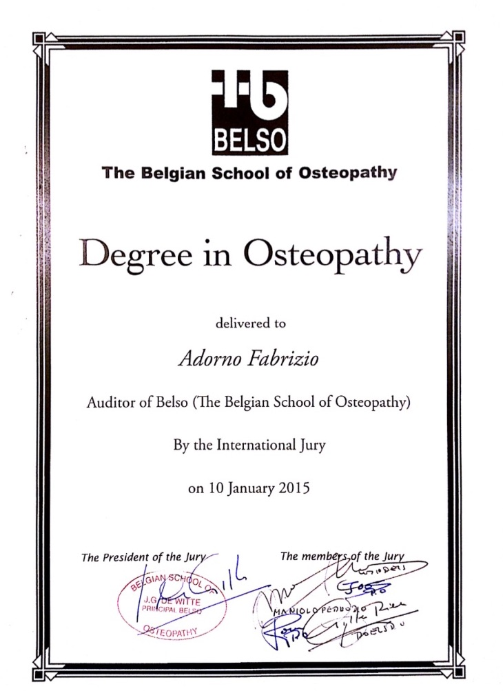 Degree in Osteophaty